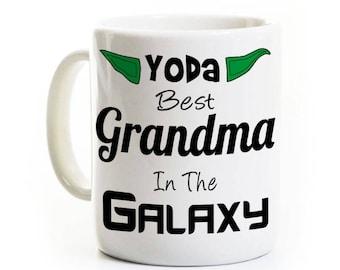 Grandma Grandmother Gift - Yoda Best Grandma in the Galaxy - Coffee Mug for Grandmother or Mom Mom