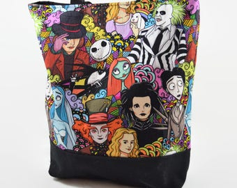 Tim Burton Tote Bag - A Bit Different Print Bag - Tim Burton Inspired Printed Bag - Gift for Tim Burton Fans - Creepy Tote Bag, Gift for Her