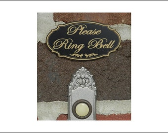 """1.5"""" x 3"""" Engraved """"PLEASE RING BELL"""" Door Sign, Wall Plaque, Small Business Home Office"""