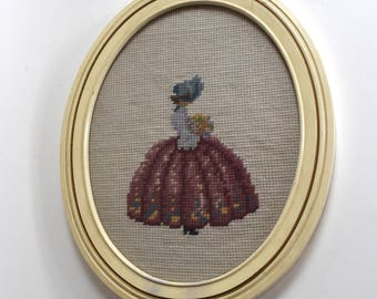 Vintage Oval Framed Needle Point