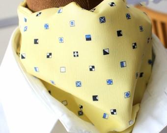 Tie Scarf, Ascot Necktie, Yellow, Crepe de Chine