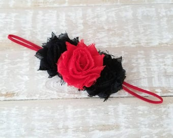 Red and Black Triple Flower Headband - Red Baby Headband - Black Headband - Newborn Headband - Valentine's Day Headband - Red Hair Bows