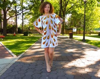 African Print Dress, Eliza Bell Sleeve Dress: Electric Bulb