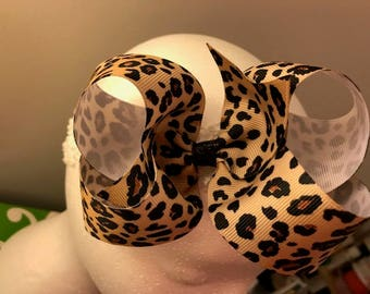 Leopard Print Bow (Black Spots)