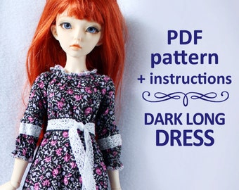 PDF pattern Folk long dress for MSD Minifee, Ellowyne, Tonner and Similar dolls 16""