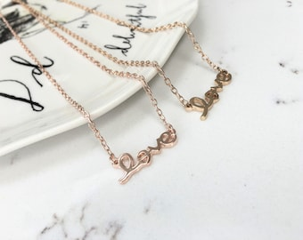 Love Pendant Charm Necklace Letters - Silver, Gold or Rose Gold - Bridesmaid Wedding Gift