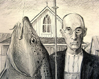 American Codfish ( Gothic ) Funny Grant Wood Parody Pencil Fish Drawing Art Print by Barry Singer