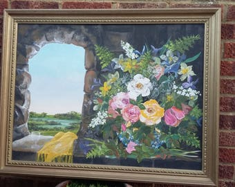 Large Original Oil Painting Still Life Flowers Landscape Gilt Frame.