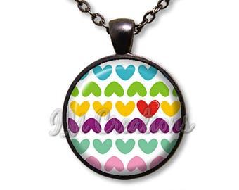 Valentine's Day Heart Pattern Glass Dome Pendant or with Chain Link Necklace HD201