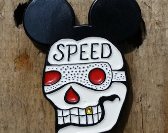 Mickey Mouse Speed Skull Tattoo Enamel Lapel Pin