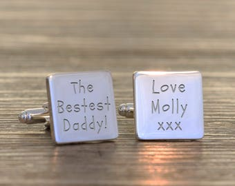Personalised Bestest Daddy Cufflinks And Case