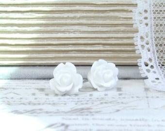 White Rose Earrings Rose Stud Earrings White Rose Studs Surgical Steel Studs White Flower Earrings