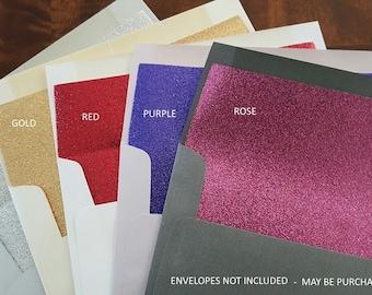 Envelope Liners, Glitter Envelope Liners,  A7 Square Flap, Glitter Liners, Wedding Envelope Liners, Invitation Envelope Liners