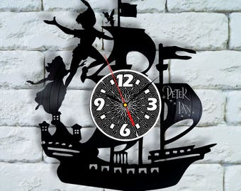 Peter Pan Art clock peter pan nursery decor peter pan wedding gift peter pan nursery bedding neverland captain hook costume cosplay