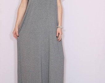 SALE SALE size Small Gray maxi dress cotton Loose fit dress Women maxi dress with short sleeves