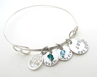 Personalized Family Bracelet with Birthstones - Custom Bangle - Family Tree - Mothers - Child - Kids - Personalized Jewelry - Anniversary