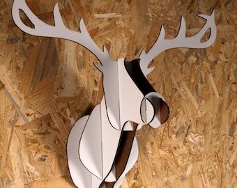 Wooden deer head