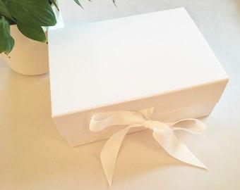 Luxury White Gift Box, Deep Keepsakes Box, Bridesmaid Gift, Bride Gift Box, Valentine Gift, Magnetic Closure, White Ribbon, White Gift Box
