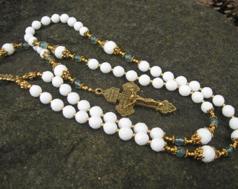 Classic Rosary - White Glass and Blue Apatite