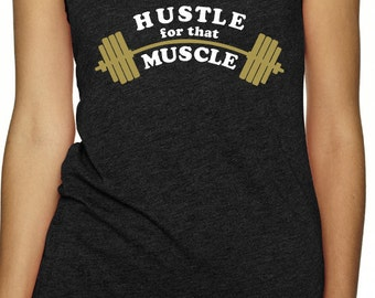 Hustle for that muscle - womens racerback tank all sizes in black work out gym fitness