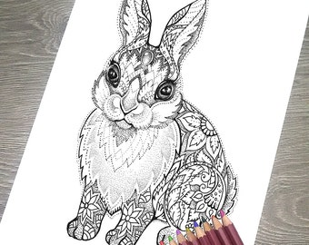 """Printable Coloring Page JPG - Adult Colouring Page, Instant Download only, Art Printable illustrations - """"Magic Totem"""" - Rabbit"""