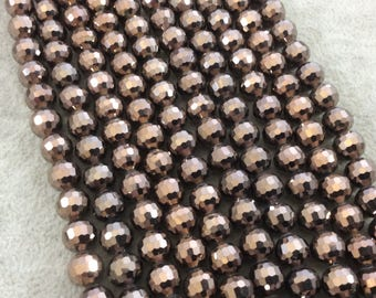 """8mm Glossy Finish Faceted Opaque Dark Brown Chinese Crystal Round/Ball Shaped Beads - Sold by 16"""" Strands (Approx. 54 Beads) - (CC8-110)"""