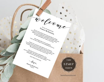 Wedding Welcome and Itinerary card, editable PDF template, Timeline card, Wedding weekend, welcome bag, box, hotel, rustic theme (TED449_17)
