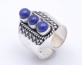 Lapis Lazuli 925 Silver Ring Adjustable