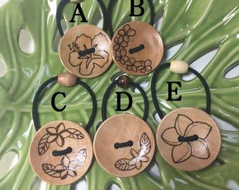 wood burning button Hawaiian flower hair tie