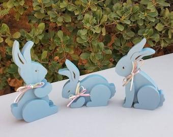 Set of three bunnies – Halcyon Blue