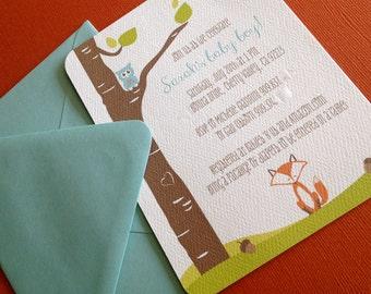 Woodland- shower invitation, baby shower, forest, woodsy tree, animals