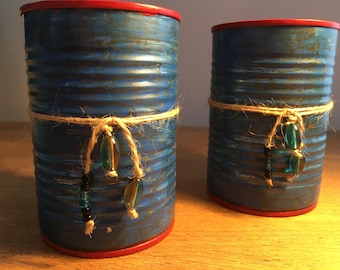 TINker Collektion pencil holder made of old tin cans, handpainted in blue and red, stationery, with ribbon and beads, industrial and rustic