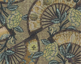 Pastiche, In the Beginning Fabrics, Jason Yenter, Fans, Green Floral Print