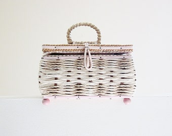Vintage Sewing Basket - Craft Supplies Storage Container - Mid Century 1960s Woven Sewing Box With Music Box - Clean And Sturdy - Pale Pink