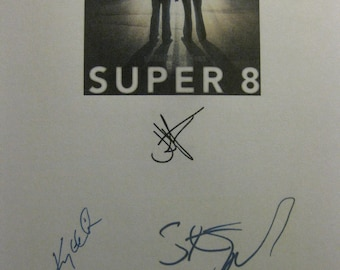 Super 8 Signed Film Movie Screenplay Script X3 Autograph J.J. Abrams Kyle Chandler Steven Spielberg signatures eight