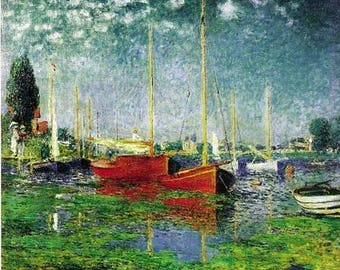 100% Hand Painted claude monet monet Argenteuil. Yachts oil painting reproduction claude monet  for Dining Room decor or gift