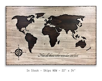 World Map For Sale, In Stock, Quick Gift Idea, Ships Now, Wooden Map, Not all who wander are lost, JRR Tolkein Quote, Push Pin Map, Unique