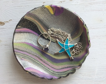 Northern Lights, Aurora Gifts, Ring Dish, Key Dish, Coin Dish, Polymer Clay, Jewelry Box, Jewelry Dish, Key Holder, Coin Holder, Trinkets