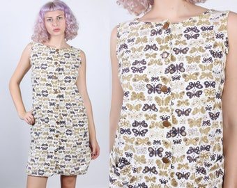 60s Butterfly Dress // Vintage Fritzi California Button Up Mini Shift Dress - Extra Large XL