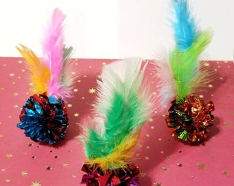 Crinkle Cat Toys, Kitten Toys, Feather Cat Toys, Catnip Feathers, Fun Cat Toys, Cat Gifts, Unique Cat Toys, Birthday Gifts for Cat