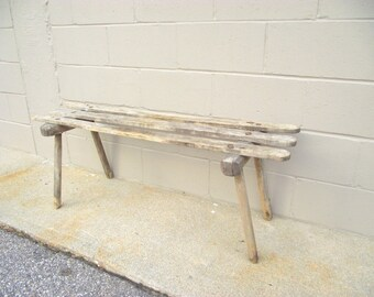 Primitive Wooden Slat Bench Coffee Table - Rustic Farmhouse Country Seat - Long Weathered Gray - Mudroom Dining Seating Industrial Chic
