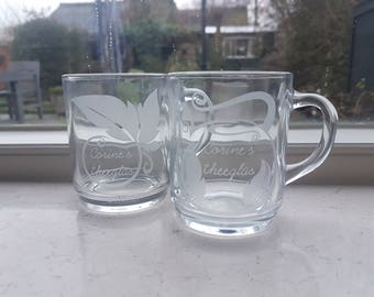 set of two, made to order tea glassware. personalized, monogrammed AND/ OR coloured tea glasses