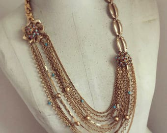 Layered Gold Chain Necklace, Vintage Assemblage Necklace, Modern Vintage Necklace