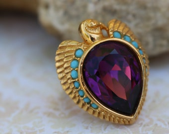 ELIZABETH TAYLOR  Avon RING, Egyptian Collection,1993, Cleopatra,Falcon, Boldly Brilliantly Faceted purple glass Stone, Faux Turquoise