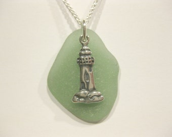 Seaglass Pendant - Lighthouse Sea Glass Pendant lighthouse Jewelry Beach Glass Jewelry Handmade, Custom Jewelry