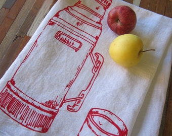 Tea Towel - Screen Printed Flour Sack Towel - Kitchen Towel - Camping Thermos - Cloth Dish Towel - Eco Friendly - Christmas Tea Towels