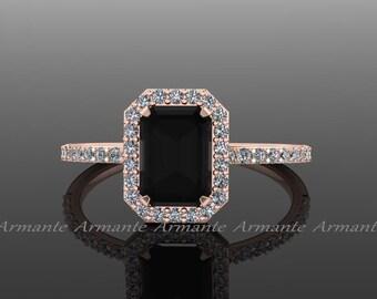 Black Diamond Emerald Cut Engagement Ring, White And Black Diamond 14k Rose Gold Halo Ring, Wedding Ring Re0005