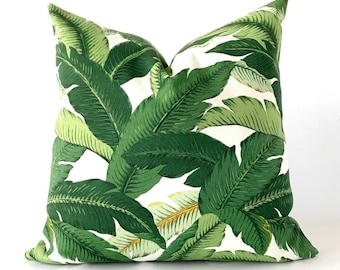 22x22 OUTDOOR Banana leaf pillow cover, palm leaf pillow, outdoor pillow cover, tropical throw pillow, green pillow cover
