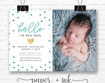 New Here Birth Announcement