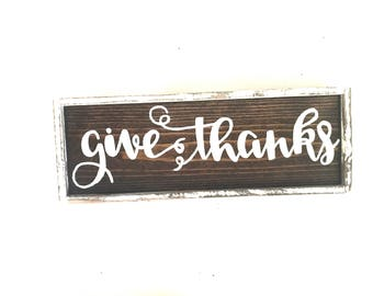 Give Thanks Handcrafted Wooden Fall Sign // Rustic Fall Sign // Rustic Fall Decor // Farmhouse Fall Sign // Hand Painted Wood Sign